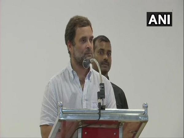 Rahul Gandhi speaking to people in Mukkam, Kerala on Thursday.