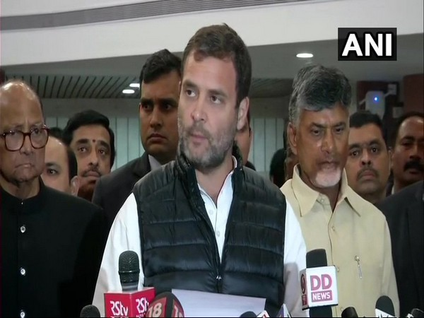 Rahul Gandhi along with leaders of other parties in New Delhi on Wednesday.