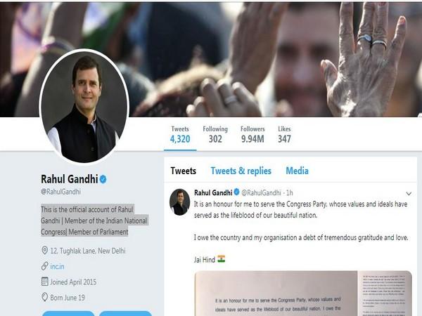 Snapshot of Wayanad MP Rahul Gandhi's account. Photo/Twitter
