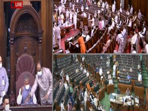 Visuals from Rajya Sabha on September 20.