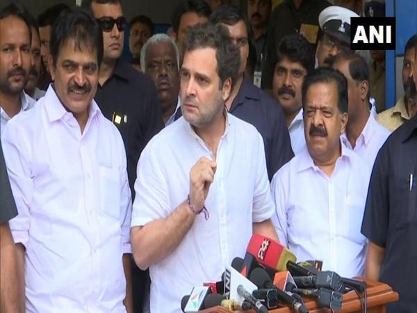 Congress leader Rahul Gandhi speaking to reporters in Wayanad, Kerala on Friday.