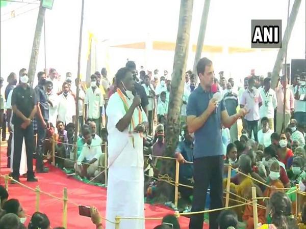 Visual of Congress Leader Rahul Gandhi interacting with fishermen in Puducherry (Photo/ANI)