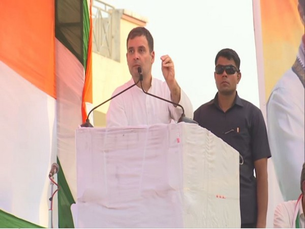 Congress leader Rahul Gandhi addressing an election rally in Nuh, Haryana on Monday. Photo/ANI