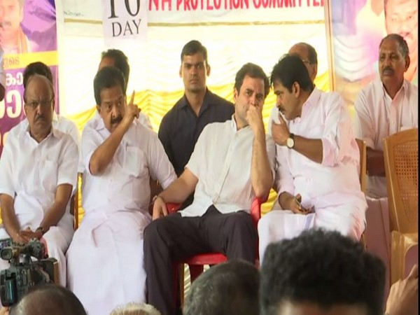 Rahul Gandhi at the protest site in Wayanad, Kerala on Friday.