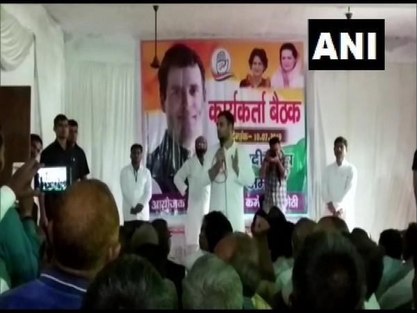Congress leader Rahul Gandhi while addressing party workers in Amethi, Uttar Pradesh on Wednesday. Photo/ANI