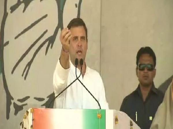 Congress president Rahul Gandhi addressing a rally at Jatara in Madhya Pradesh on Tuesday. (Photo/ANI)