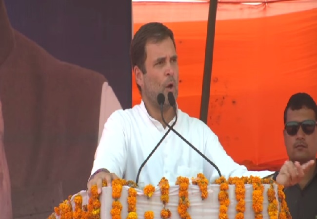 Congress president Rahul Gandhi speaking at an election rally in Sirsa, Haryana on Thursday Photo/ANI.