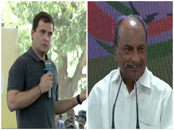 Congress president Rahul Gandhi(File Image), senior leader AK Antony announcing Rahul Gandhi's candidature from Wayanad Lok Sabha constituency on Sunday (right)