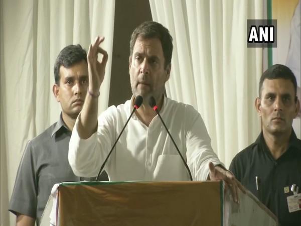 Congress president Rahul Gandhi addressing an election rally in Delhi on Thursday.