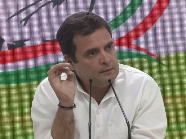 Congress president Rahul Gandhi at a press conference in New Delhi on Friday. Photo/ANI