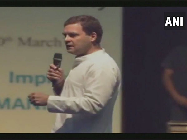Congress President Rahul Gandhi intercating with students in Imphal.