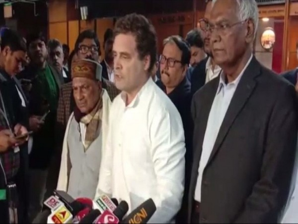 Congress leader Rahul Gandhi addressing media after meeting of opposition parties.