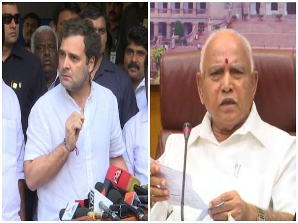 Congress leader Rahul Gandhi (left) and Karnataka Chief Minister BS Yediyurappa (right)