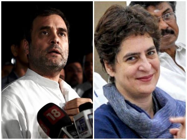 Congress leaders Rahul Gandhi (l) and Priyanka Gandhi Vadra