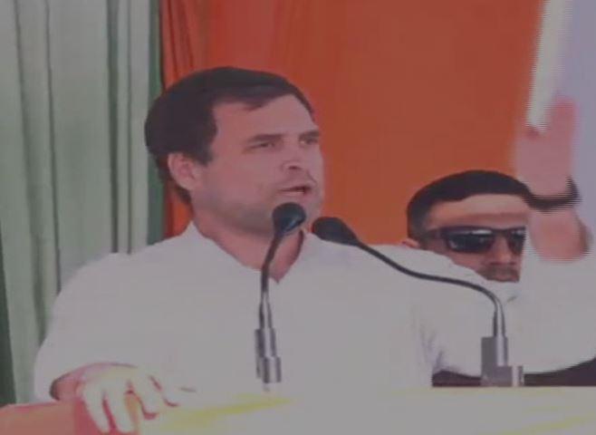 Congress president Rahul Gandhi addressing an election rally at Bundi, Rajasthan, on Tuesday. Photo/ANI