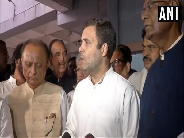 Congress leader Rahul Gandhi talking to media persons at Delhi airport on Saturday