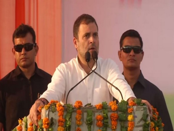 Congress leaders Rahul Gandhi addressing election rally at Mahendragarh Haryana on Friday