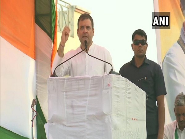 Congress leader Rahul Gandhi addressing an election rally in Nuh, Haryana on Monday.