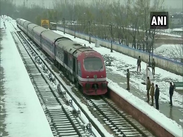 The visual of trial run of train services in Kashmir. (Photo/ANI)