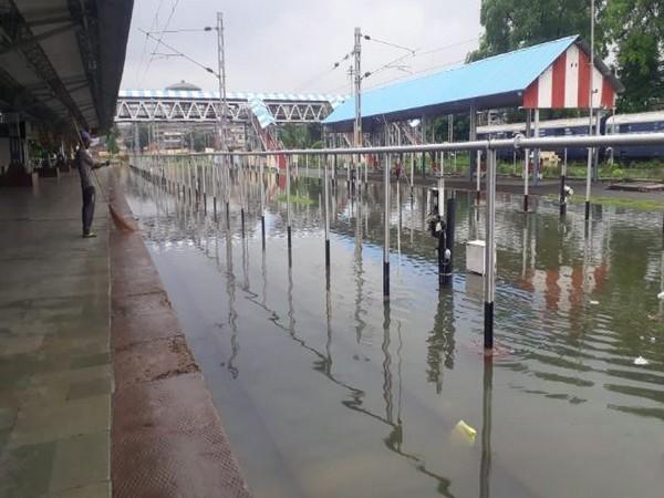 Heavy rain leads to water-logging in railway tracks in Prayagraj. Photo/ANI