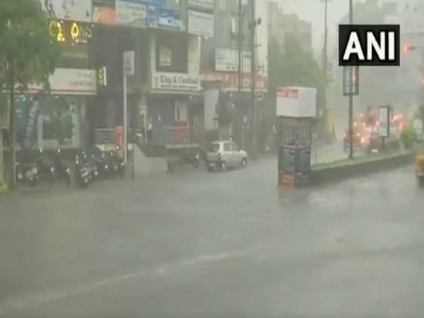 Rain lashed parts of Hyderabad on Thursday evening. (Photo/ANI)