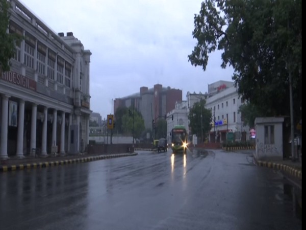 Visuals of rain from Connaught Place area in Delhi. (Photo/ ANI)