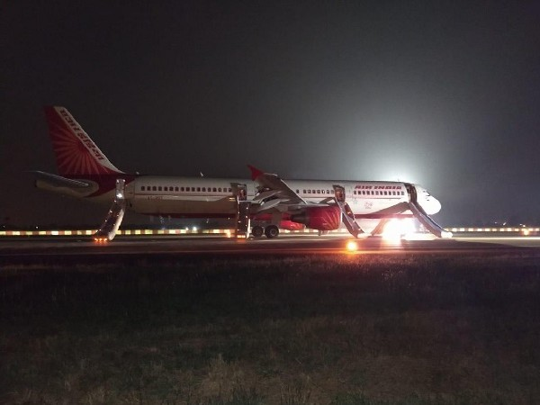 The Air India flight which made emergency landing at Raipur airport on Friday.