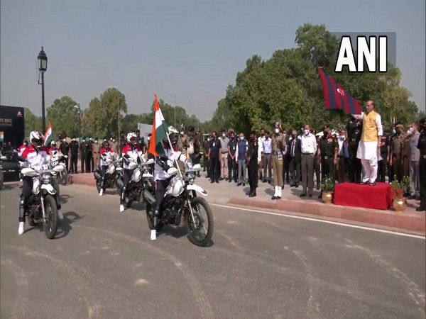 Defence Minister Rajnath Singh flags off Border Roads Organisation (BRO) motorcycle expedition. (Photo/ ANI)