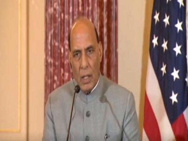 Defence Minister Rajnath Singh addressing a joint press conference at the US-India 2+2 Ministerial Dialogue.