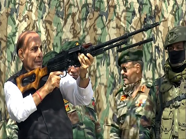 Defence Minister Rajnath Singh inspects a Pika machine gun at Stakna, Leh on July 17. (File Photo/ANI)