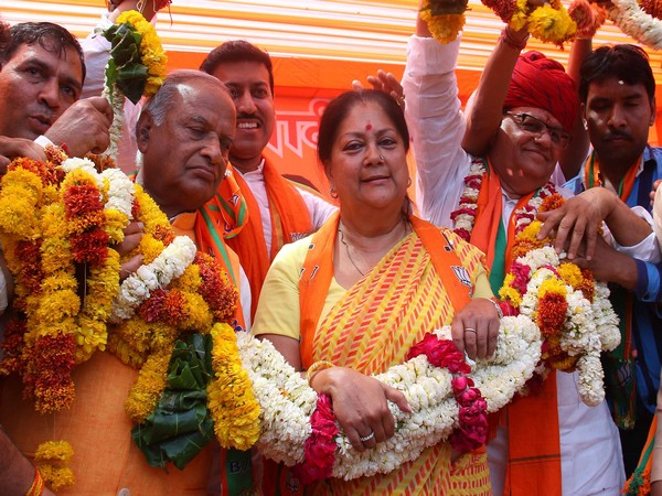 Former chief minister Vasundhara Raje (in middle)