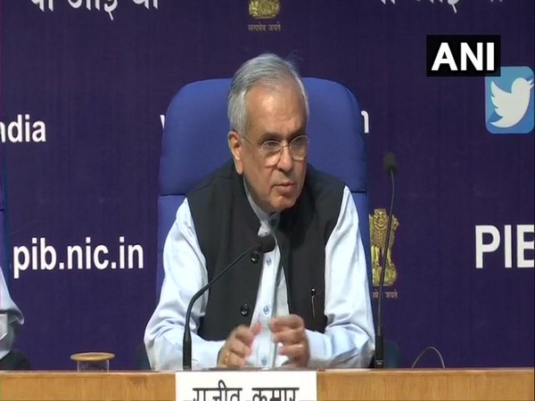 Rajiv Kumar, Vice Chairperson NITI Aayog, addressing a press conference in New Delhi on Saturday. Photo/ANI
