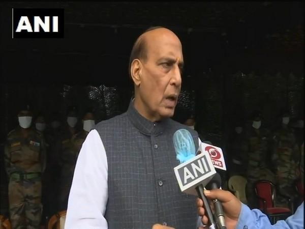 Defence Minister Rajnath Singh speaking to media in Darjeeling on Sunday. (Photo/ANI)