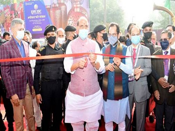 "Defence Minister Rajnath Singh formally inaugurating the 26th ""Hunar Haat"" in New Delhi on Sunday."