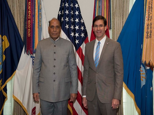 Defence Minister Rajnath Singh with his American counterpart Mark Esper (File photo)