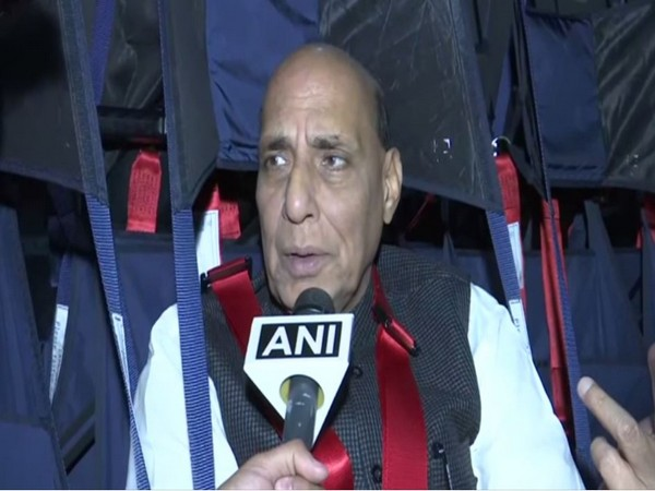 Rajnath Singh speaking to ANI in France on Tuesday. Photo/ANI