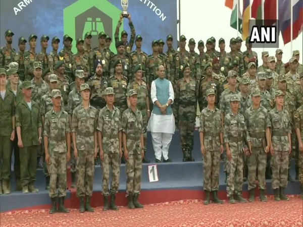 Defence Minister Rajnath Singh on Friday attended the closing ceremony of the 5th International Army Scout Masters competition in Pokhran, Rajasthan.