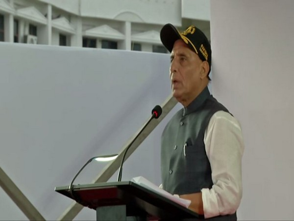 Defence Minister Rajnath Singh speaking at the Investiture Ceremony of Indian Coast Guard in Chennai on Tuesday. Photo/ANI