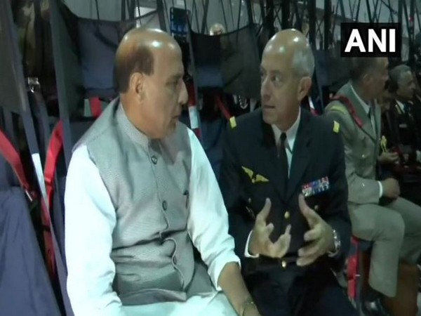 Union Defence Minister Rajnath Singh on board a French military aircraft travelling to Mérignac ahead of Rafale jet handover ceremony. (ANI)