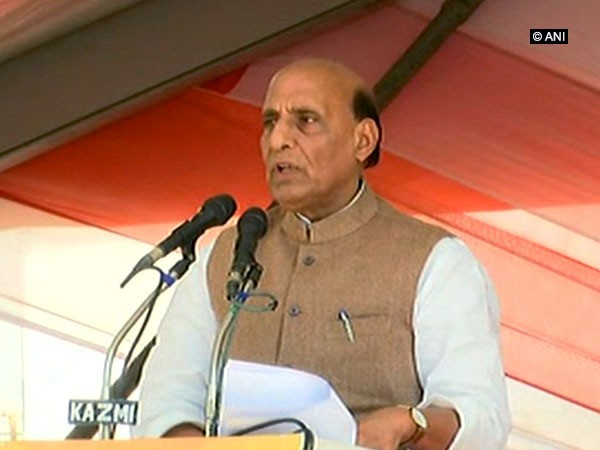 Home Minister Rajnath Singh addressing the event in Lucknow on Thursday..