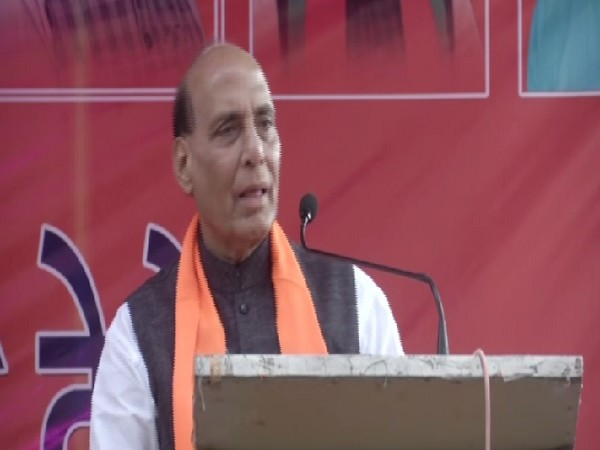Defence Minister Rajnath Singh speaking at an election rally in Gurugram, Haryana, on Friday. Photo/ANI