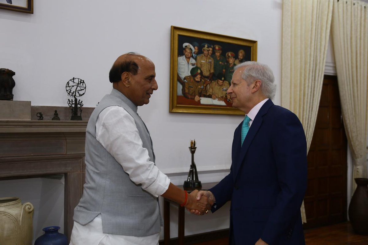 United States Ambassador to India Ken Juster met Defence minister Rajnath Singh in New Delhi on Monday