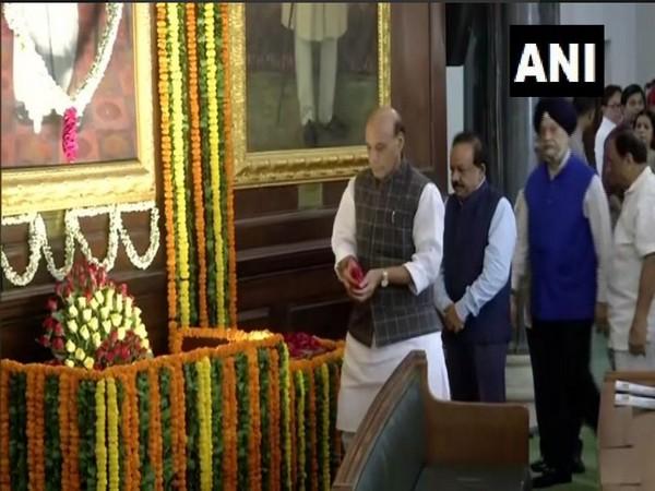 Defence Minister Rajnath Singh paid homage to Dr Syama Prasad Mookerjee on Saturday. Photo/ANI