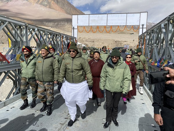Defence Minister Rajnath Singh during an event in Ladakh on Monday. Photo/Twitter@rajnathsingh