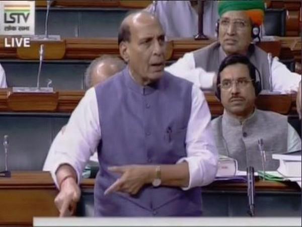 Defence Minister Rajnath Singh in Lok Sabha on Tuesday. (Courtesy-Lok Sabha)