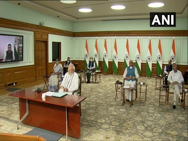 Defence Minister Rajnath Singh during all-party meeting with Prime Minister Narendra Modi on India-China border issue