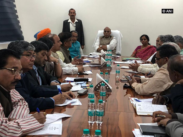 Union Home Minister Rajnath Singh meeting farmers' representatives and organisations on Monday in New Delhi.
