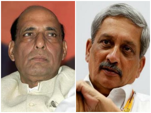 Union Home Minister Rajnath Singh (left) and late former Defence Minister Manohar Parrikar (Right)