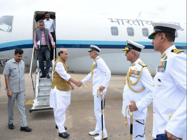 Defence Minister arrives at Visakhapatnam on a two-day visit to Eastern Naval Command. (Photo/ANI)
