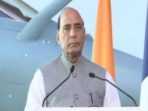 Defence Minister Rajnath Singh speaking at the handing-over ceremony of the Rafale jet on Tuesday.